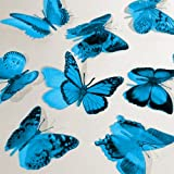 Butterfly 3D Translucent Decoration 12 AQUA Butterflies
