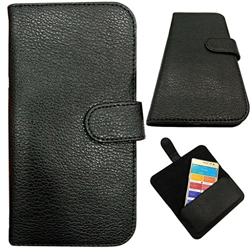 """MBW A Brand New Leather Cover Pouch Carrying Case 5.5"""" Black for Mobile for Panasonic P65 Flash"""