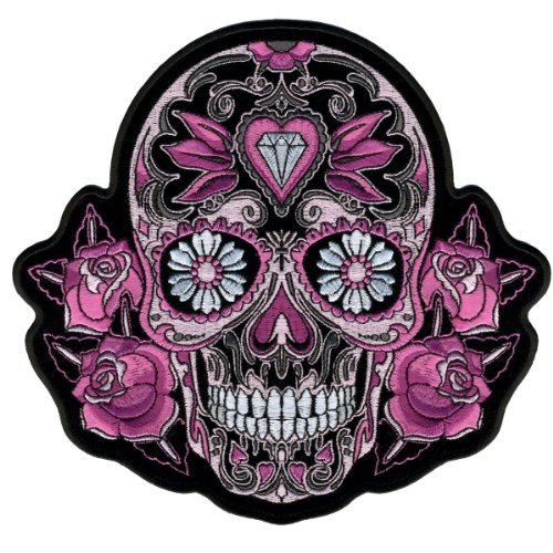 Ladies Pink Sugar Skull and Roses [4 Inch] Embroidered Biker Patch