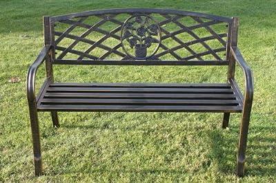 Metall-Gartenbank mit Blumenmuster-Einsatz von Olive Grove von Olive Grove bei Gartenmöbel von Du und Dein Garten