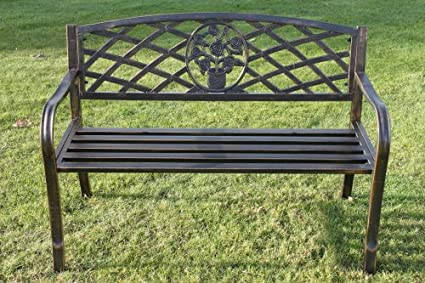 Banco de jardín de metal con motivo floral. INCLUYE COJÍN por valor de 22,99 £ si se compra en Olive Grove. (Verde)