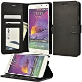Note 4 Case, Abacus24-7 Note 4 Wallet Case [Book Fold] Leather Galaxy Note 4 Cover [Flip Cover] With Foldable...