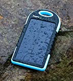Nexcon® Solar Panel Charger 5000mAh Rain-resistant and Dirt/Shockproof Dual USB Port Portable Charger Backup Power Pack for iPhone 6 5S 5C 4S 4, iPods(Apple Adapters not Included), Samsung Galaxy S5 S4, S3, S2, Note 3, Note 2, Most Kinds of Android Smart Phones,Windows phone and More Other Devices(Blue)