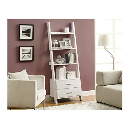 Monarch Bookcase Ladder with 2-Storage Drawers, 69-Inch, White
