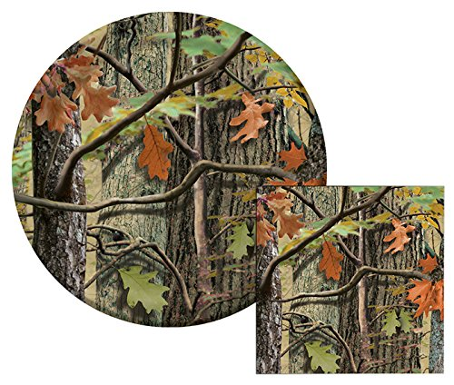 Hunting Camo Themed Dessert Napkins & Plates Party Kit for 8