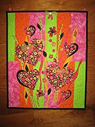 Hearts and Flowers Abstract Wall hanging Art Quilt, Quilted, 21 x 17\