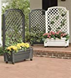 Planter With Trellis And Self-Watering Reservoir, in Green