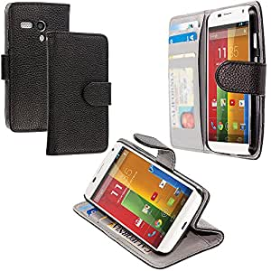 Accessory Planet(TM) Black Wallet Leather Pouch Case Cover with Credit Card Slots Holder Accessory for Motorola Moto G