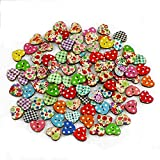 100 Multicolor Heart Shaped Wood Sewing Buttons Scrapbooking Knopf Bouton