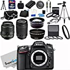 Nikon D7100 24.1MP DX-Format CMOS Sensor Digital SLR Camera (Black) Import Model with 18-55mm f/3.5-5.6G AF-S DX VR and Nikon AF Zoom Nikkor 70-300mm f/4-5.6G Lens + Wide Angle + Telephoto + Full 32GB Deluxe Accessory Bundle