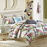 Chic Home Forest Owl 4-Piece Reversible Comforter Set with Shams and Decorative Pillows, Twin Size