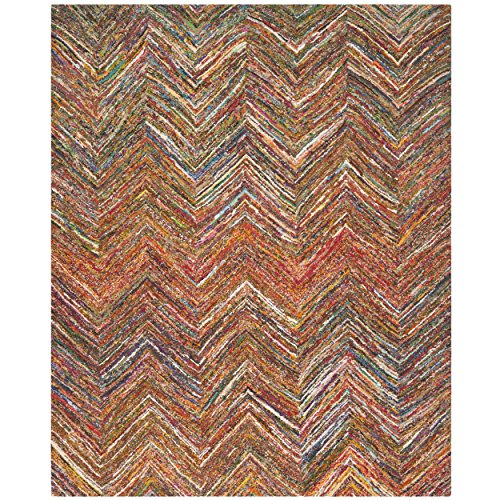 Safavieh Nantucket Collection NAN141B Handmade Blue and Multicolored Cotton Area Rug, 8 feet by 10 feet (8' x 10')