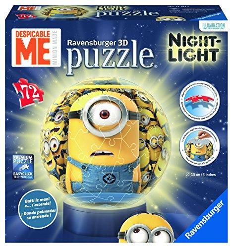 Ravensburger Italy 121915 - Puzzle 3D Minions, Lampada Notturna, Multicolore