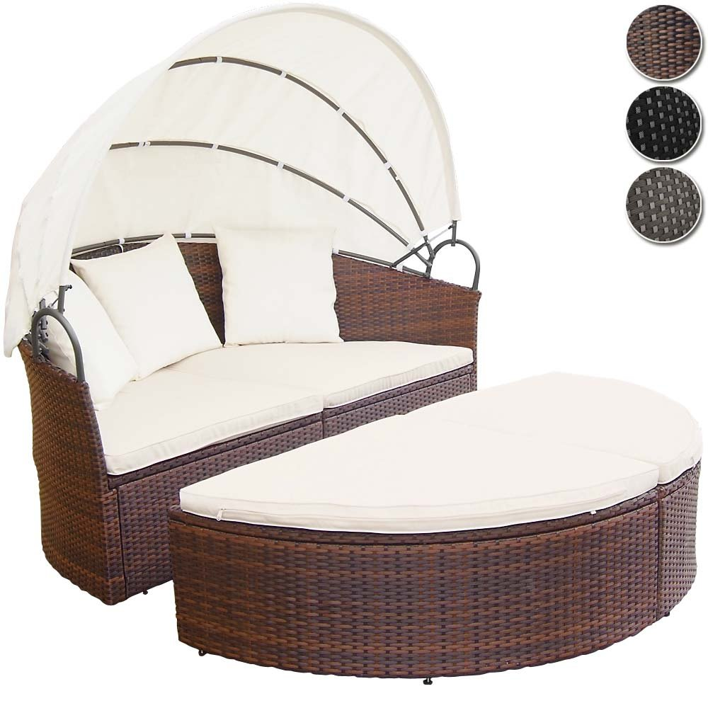 Polyrattan Sonneninsel Lounge Liege (Farbwahl) inkl. Kissen Sitzauflage Sonnendach online kaufen
