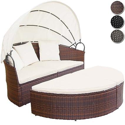 Miadomodo - Conjunto de sillones isla para jardín de ratán sintético marrón
