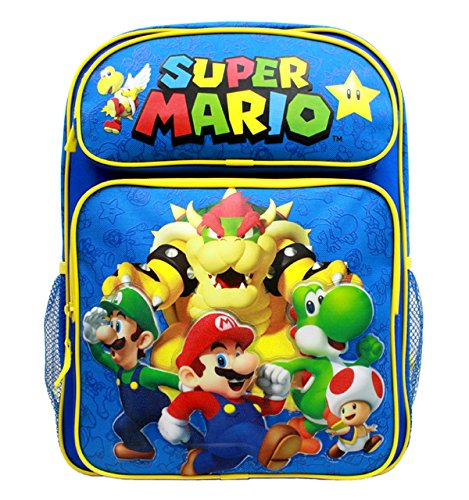 Backpack - Nintendo - Super Mario Group Blue 16 School Bag New SD28260 by Super Mario Brothers