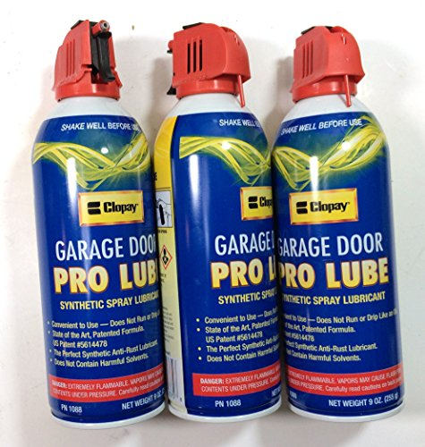 Clopay Garage Door Pro Lube Synthetic Spray Lubricant, 9oz Can, Pack of 3 (Garage Door Spray compare prices)