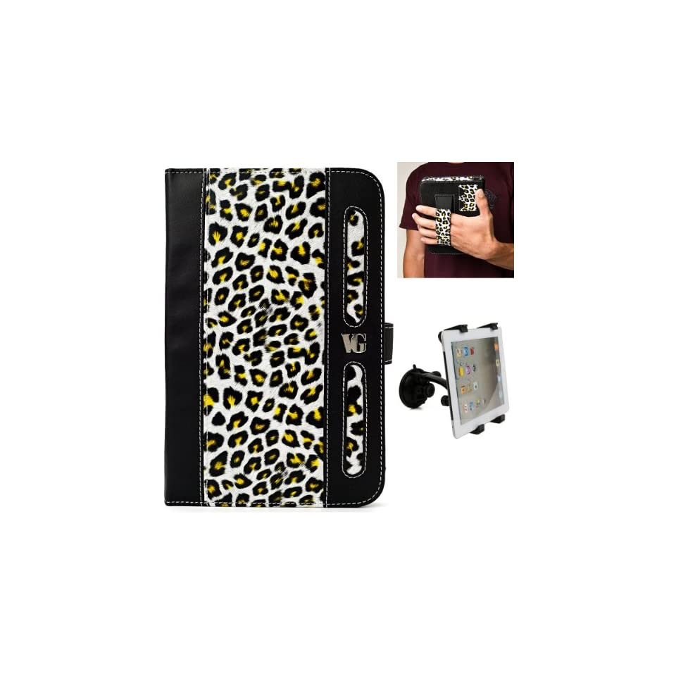 Black Yellow Cheetah Design Dauphine Edition Protective Leather Case Cover for Visual Land Prestige 7 Internet Tablet (ME 107 8GB) + Universal Adjustable Windshield Mount for 7 10 inch Tablets Computers & Accessories