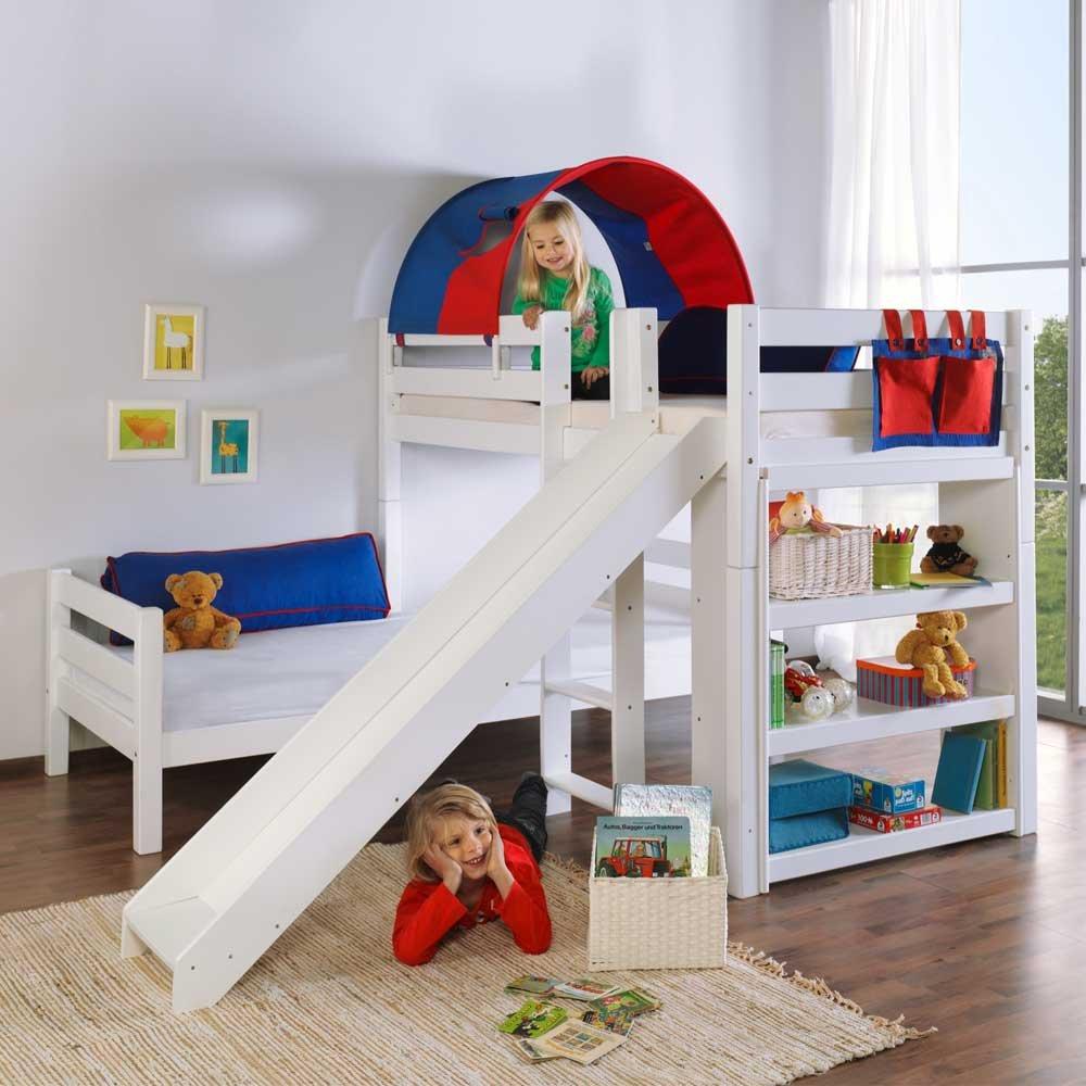 Kinderetagenbett mit Rutsche und Tunnel Rot Blau Pharao24 günstig