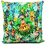Benfan® Throw Pillow Covers with Decorative Pillowcase for Sofa Flower Canvas Cushions Cases Decorative Pillow Covers 18 X 18