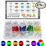 CO RODE 5mm LED Diode Kit, Multicolor RGB LED (Common Anode, Common Cathode) RGB Fast Flashing, Slow Flashing, UV, White, Red, Blue, Green, Yellow, Pack of 375