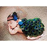 Pinbo Newborn Baby Photography Prop Cute Peacock Knitted Crochet Costume Headband Cover