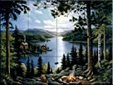 Cabin in the Woods by John Zaccheo Tile Mural for Kitchen Backsplash Bathroom Wall Tile Mural