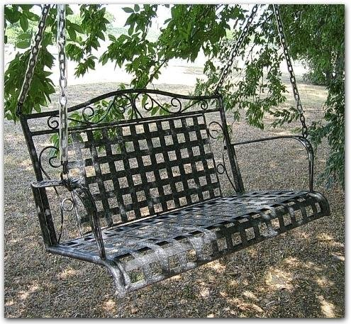 Iron Outdoor Patio or Porch Bench Swing - Marble Grey