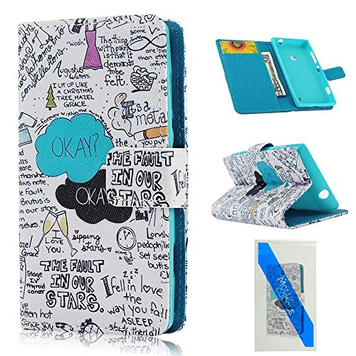 Mollycoocle Fashion Style Wallet Book Case Magnetic Design Flip Folio Pu Leather Cover Standup Cover Case With Cloud Tree Letter Scribble Pattern For Nokia Lumia 520 (Not For 521)