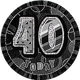 Unique Party 6-Inch Glitz Giant 40th Birthday Badge (Black)