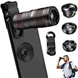 Phone Camera Lens, VPKID 2 in 1 Cell Phone Lens Kit 12X Zoom Telephoto Lens with Telescope Dual Focus Monocular with Universal Clip Compatible with iPhone X XS Max 8 7 6S Plus Samsung S9 S8 Android (Color: 5 in 1 Cell Phone Lens Kit)