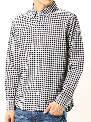 (アーケード) ARCADE 秋 ボタンダウン シャツ メンズ 長袖 ブロード チェックシャツ 白シャツ LL ホワイト×ブラック(7)
