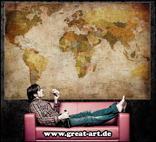 Great art xxl poster world map photo wallpaper vintage for Poster mural xxl fleurs