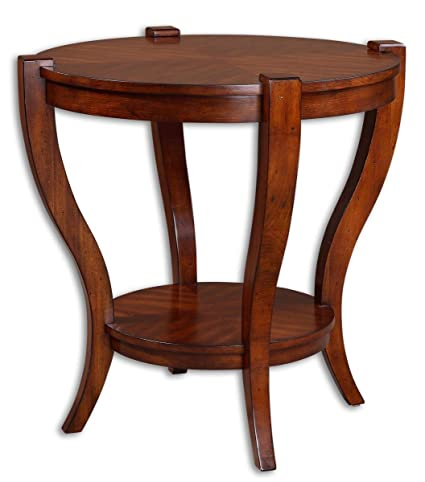 "Uttermost 30"" Inch Bergman End Table Sleek Legs Carved From Solid Poplar, w/ Bookmatched Veneer Top"