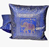 Little India Hand Embroidery Brocade Work Silk 2 Piece Cushion Cover Set - Blue (DLI3CUS805)