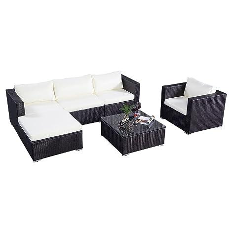 Poly Rattan Sofa Gartenmöbel Lounge Set Gruppe Sitzgruppen Gartengarnitur Seseel (Braun)