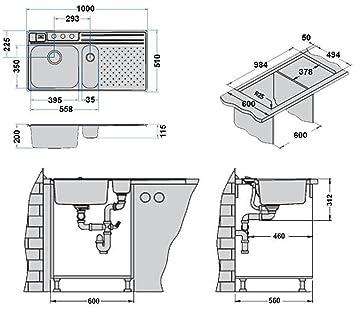 einbausp le edelstahl 1000x510mm vision 30 becken rechts sp lbecken inkl zubeh r. Black Bedroom Furniture Sets. Home Design Ideas