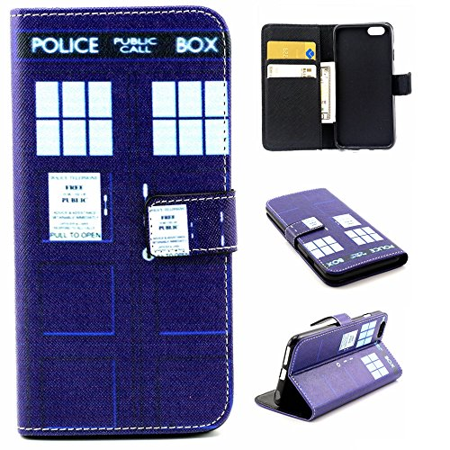 Deego iPhone 6 Case, iPhone 6s Case Flip Folio Wallet Bumper Case Premium Magnetic Closure PU Leather Cover [Stand Feature] Built-in Cards/Cash Slots For iPhone 6/6S 4.7 Inch (Police Box)