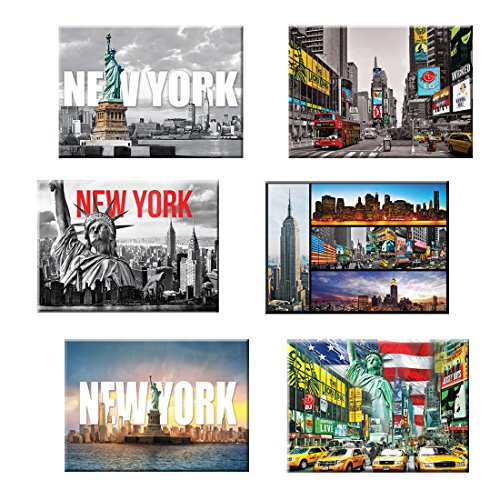 6 set New York NYC Souvenir Large Photo Picture Fridge Magnets 2.5 x 3.5 inch - Pack of 6 (Fridge Magnet New York compare prices)