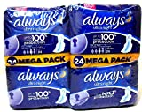 Always Ultra Night Sanitary Towels with Wings Up To 100% Leakage Protection 24 x 2 packs (48 Pads)