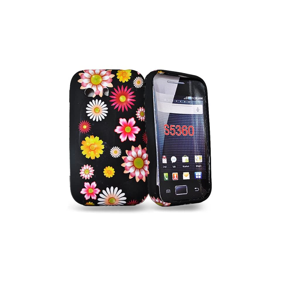 Mobile Palace  Black flower silicone case cover pouch with screen guard for samsung galaxy s5360