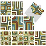 M3023 Maze: 10 Assorted Thank You Note Cards Feature Maze-like Rounded Concentric Squares, w/White Envelopes. by The Best Card Company