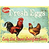 Early Bird Farms Fresh Eggs Metal Sign, Rustic Country Kitchen, Barn, Den Decor