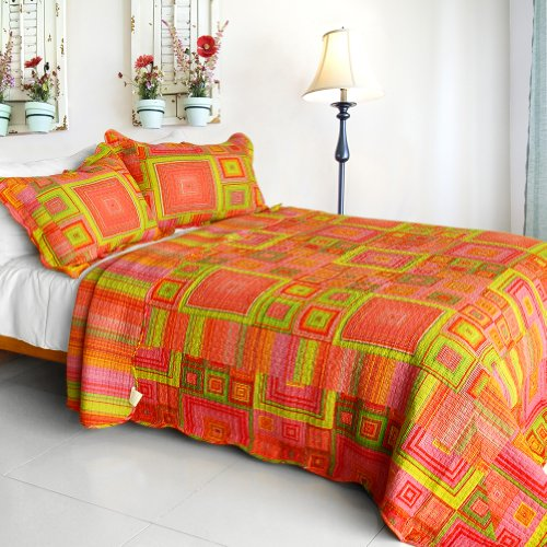 [Song Of Sunset] Cotton 3Pc Vermicelli-Quilted Printed Plaid Quilt Set (Full/Queen Size) front-937485