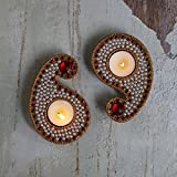 Store Indya Paisley Tea Light Holder Set Of 2 With Studded Beads And Jewels Votive Candle Home Festive Decorations...