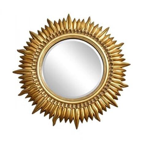 "Large Gold Gilt Framed Sun Wall Mirror (3ft 10"" x 3ft 10"")"