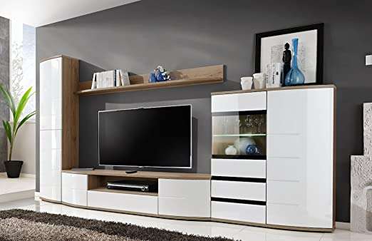 """JUST RELEASED - BMF """"TORONTO 2"""" Modern Living Room WALL UNIT - Chest of Drawers TV Stand CABINETS TallBoy - LED GLASS SHELF - Curved High Gloss Fronts - SAN REMO / WHITE"""