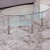 Couchtisch-98x58cm-klar-Glas-Ablage-satiniert-Sicherheitsglas-Beistelltisch-Wohnzimmertisch-Tisch-Sofatisch-Glas-Loungetisch-Ziertisch-Chrom-Gestell-verchromt-Modern-Klarglas