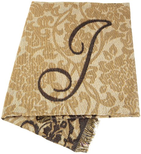 """Direct Home Textiles Group Monogram """"J"""" 50 By 60 Throw, Tan/Black front-70204"""