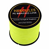 Hercules 1000m 1094yds Fluorescent Yellow 6lbs-100lbs Pe Dyneema Braid Fishing Line 4 Strands (30lb/13.6kg 0.28mm) (Color: Fluorescent Yellow, Tamaño: 30lb/13.6kg 0.28mm)